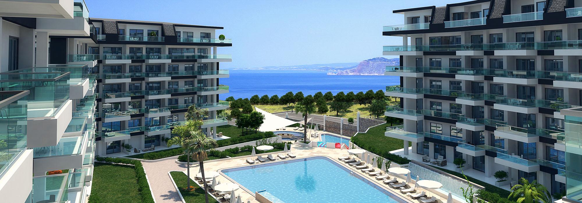 Luxueuse résidence au bord de la mer à Alanya Kargicak