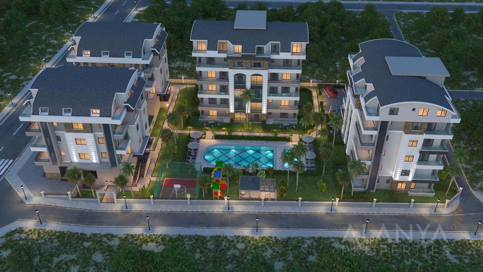 Nieuwe moderne appartementen te koop in een rustgevende omgeving in Oba, Alanya