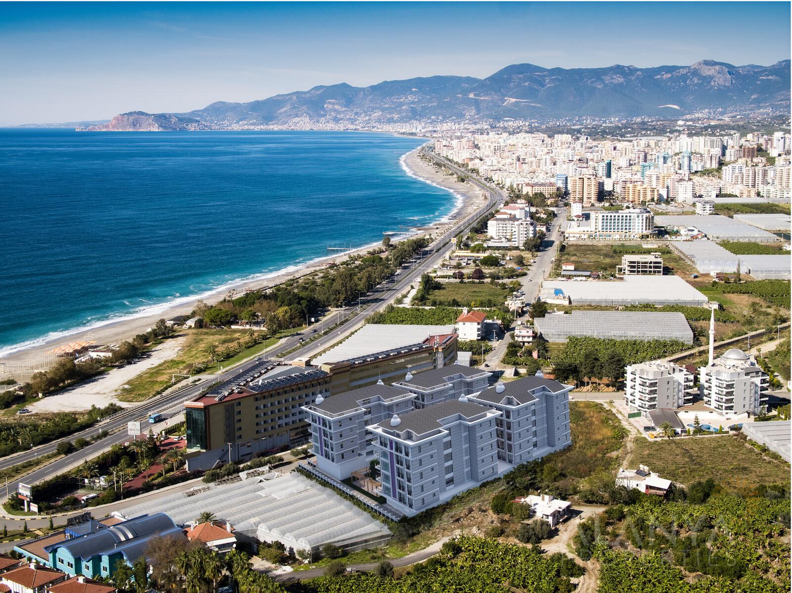 Exclusieve appartementen omringd door prachtige natuur en op 50 m van het strand in Kargicak, Alanya