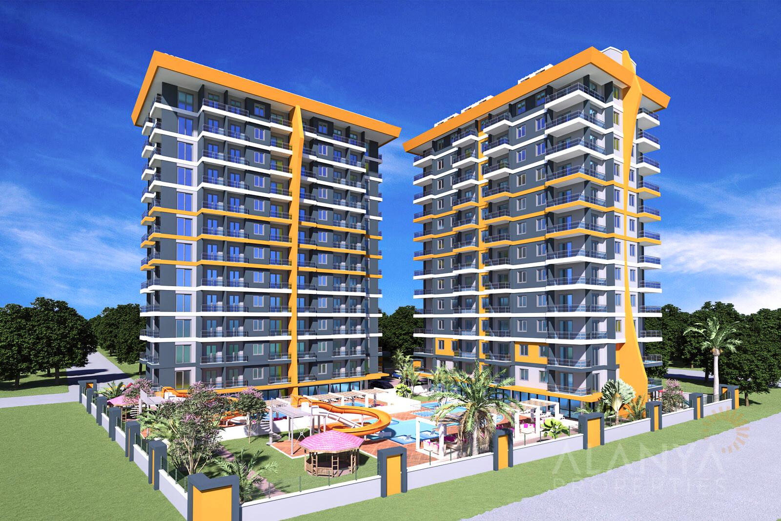 Mooie appartementen te koop op 100 m van het prachtige strand in Mahmutlar, Alanya