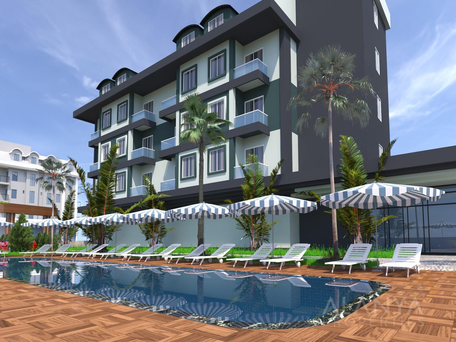 Nouveau projet dans un quartier agréable tout près de la mer à Tosmur, Alanya
