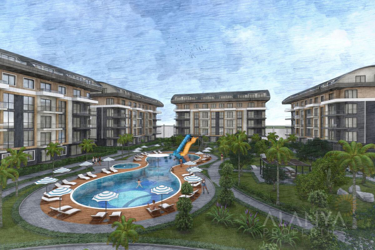 Alanya Oba'da site içerisinde satılık yeni lüks daireler
